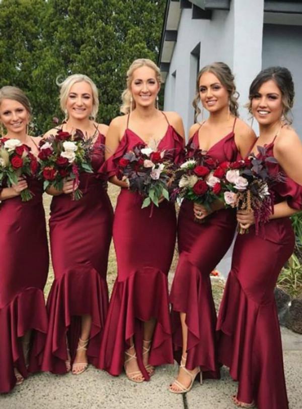 Burgundy Mermaid Satin Spaghetti Straps Bridesmaid Dress