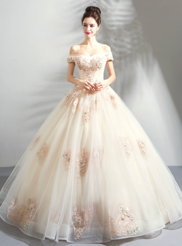 In Stock:Ship in 48 Hours Champagne Tulle Appliques Off the Shoulder Wedding Dress