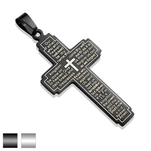 Black Cross Pendant w Lord's Prayer  Stainless Steel