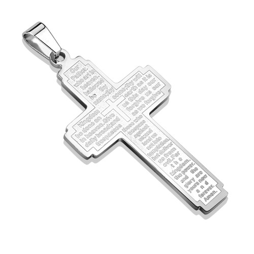 Silver Cross Pendant w Lord's Prayer  Stainless Steel