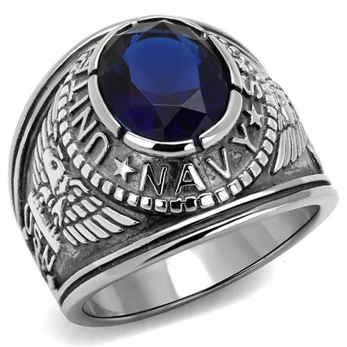 Silver Navy Military Stainless Steel Ring High polished Synthetic Sapphire