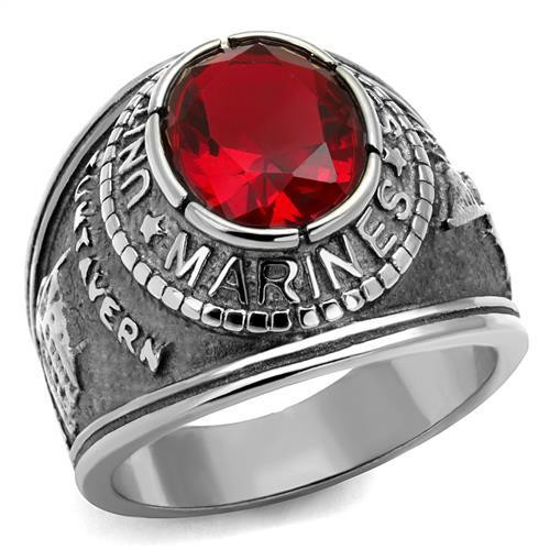 Silver Marine Military Stainless Steel Ring High polished Synthetic Siam