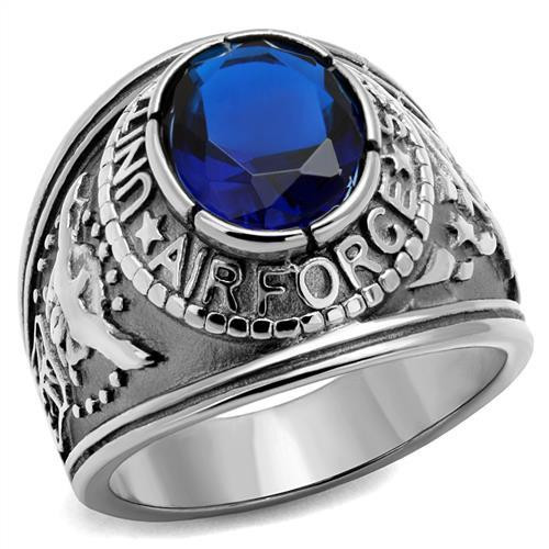 Silver Air Force Military Stainless Steel Ring High polished Synthetic Sapphire