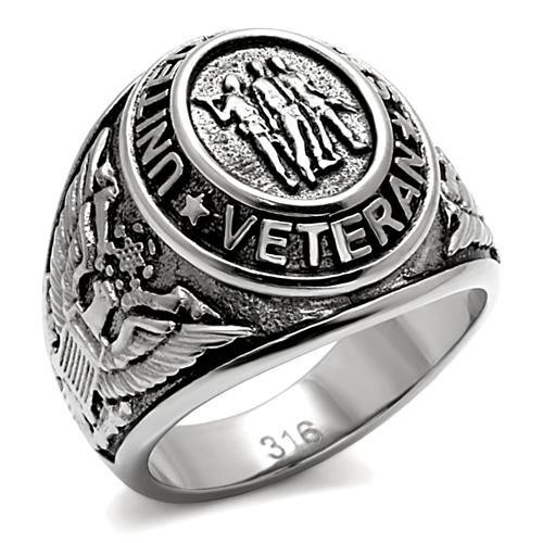 Silver Veteran Military Stainless Steel Ring High polished
