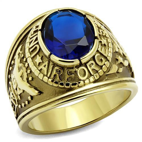 Gold Air Force Military Stainless Steel Ring High polished Synthetic Sapphire