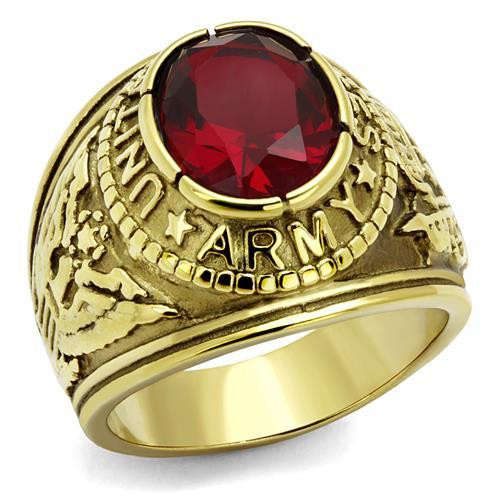 Gold Army Stainless Steel Ring High polished Synthetic Siam