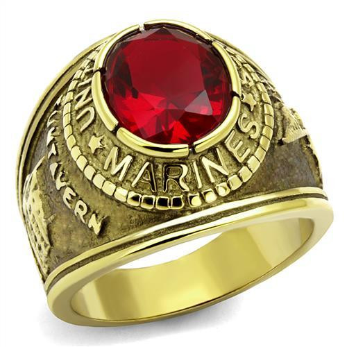 Gold Marine Military Stainless Steel Ring High polished Synthetic Siam