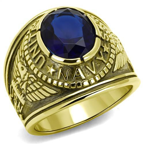 Gold Navy Military Stainless Steel Ring High polished Synthetic Sapphire