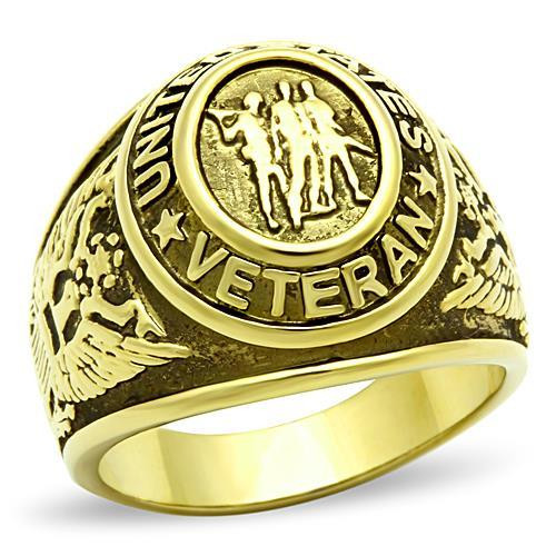 Gold Veteran Military Stainless Steel Ring High polished
