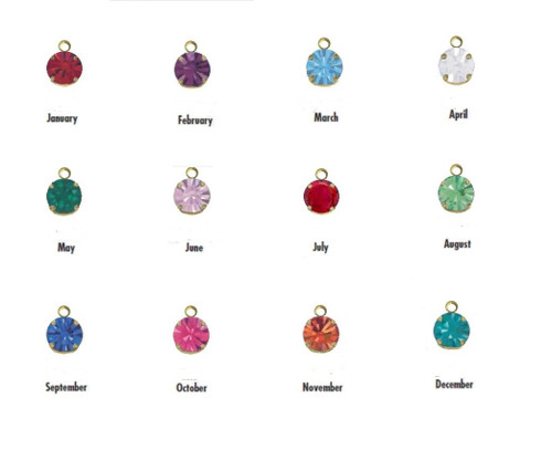 1 Dozen Gold, Silver or Rose Gold Swarovski Birthstone