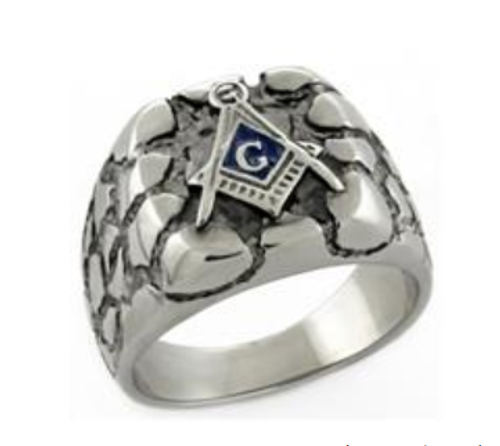 Masonic Stainless Steel Ring Silver tone Nugget-style