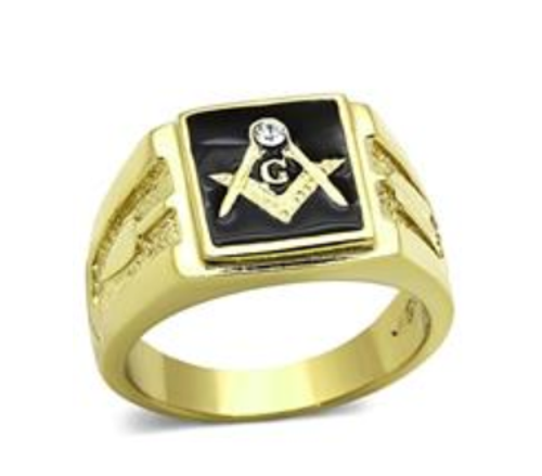 Masonic Stainless Steel Ring Gold Tone With Black Square