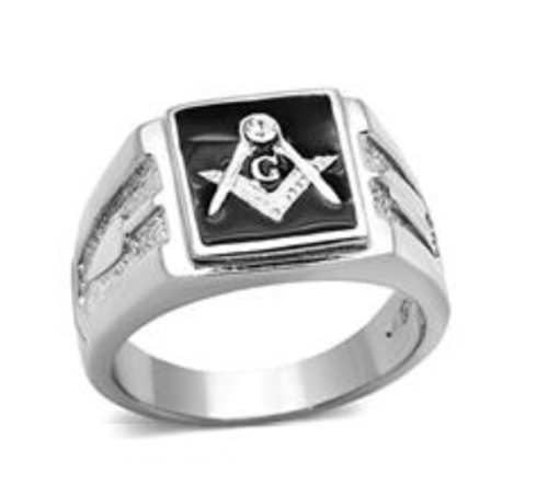 Masonic Stainless Steel Ring Silver Tone with Black Square