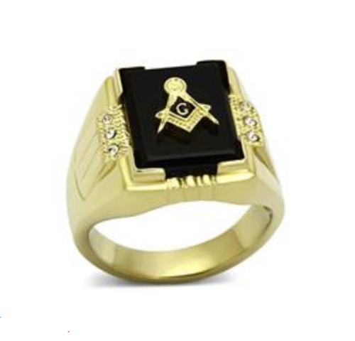 Masonic Stainless Steel Ring Gold Tone With Raised Black Onyx