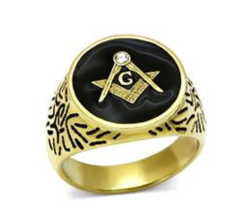 Masonic Stainless Steel Ring Gold Tone Oval With Black Onyx