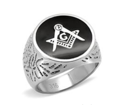 Masonic Stainless Steel Ring Silver Tone With Oval Black Onyx