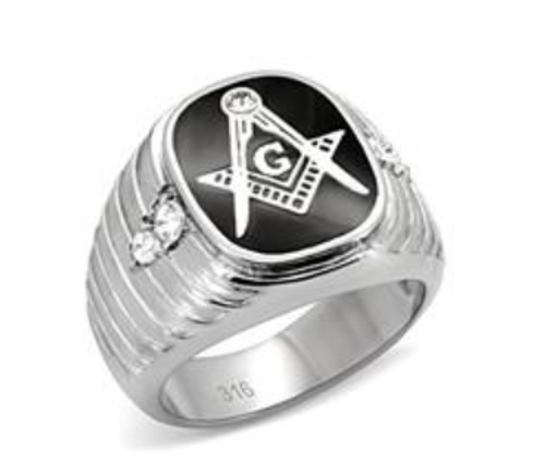 Masonic Stainless Steel Ring Silver Tone Ridged With Black Onyx
