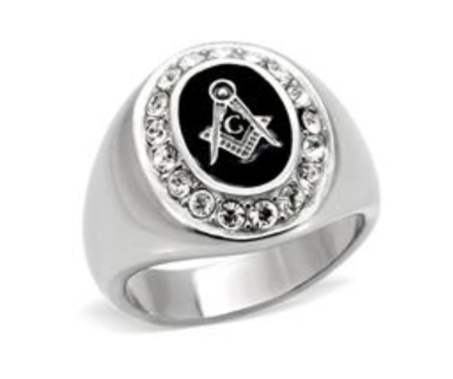 Masonic Stainless Steel Silver Tone CZ Oval With Black Onyx