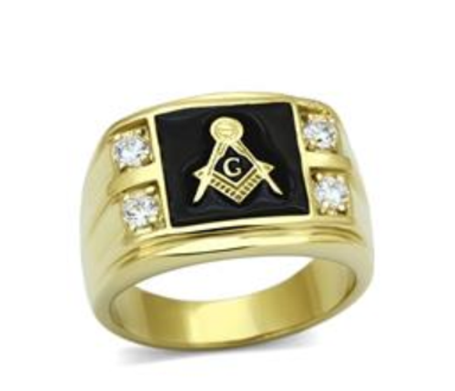 Masonic Stainless Steel Ring Gold Tone With 4 Clear CZ Black Onyx