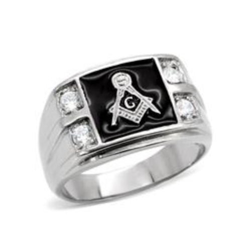 Masonic Stainless Steel Ring Silver Tone With 4 Clear CZ Black Onyx