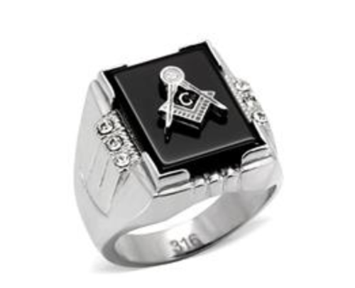 Masonic Stainless Steel Ring Silver Tone With Raised Black Onyx