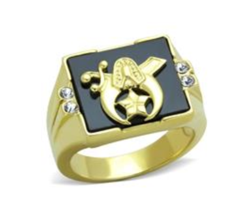 Shriner Stainless Steel Ring Gold Tone With Black Onyx