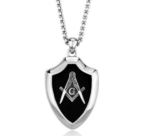 "Masonic Stainless Steel Pendant 20"" Silver Tone w/Synthetic Black Onyx"
