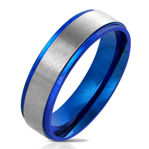 6mm Brushed Silver Center With Blue Edges (SB166)