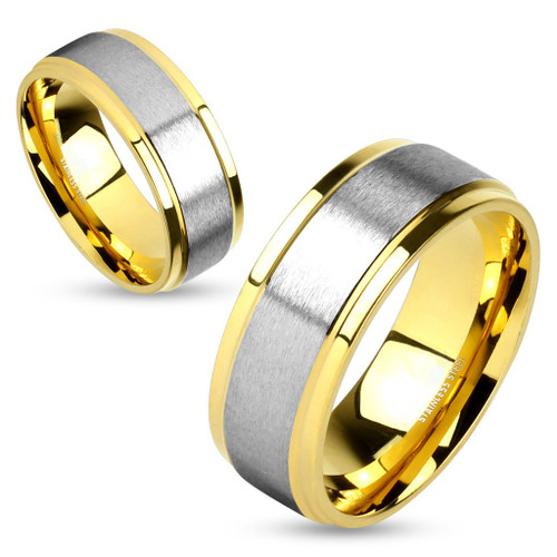 8mm Silver Polished Center w/Gold Edge (SG508)