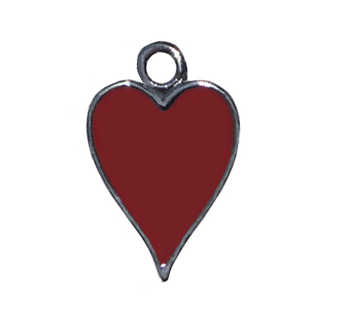 2 Sided Silver Plated Heart Charm With Red Epoxy