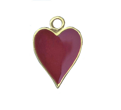 2 Sided Gold Plated Heart Charm With Red Epoxy