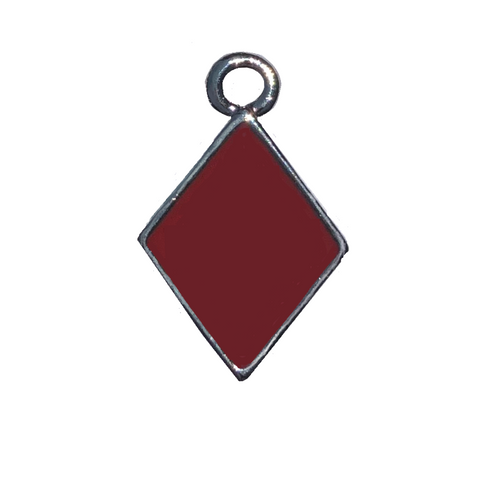 2 Sided Silver Plated Diamond Charm With Red Epoxy