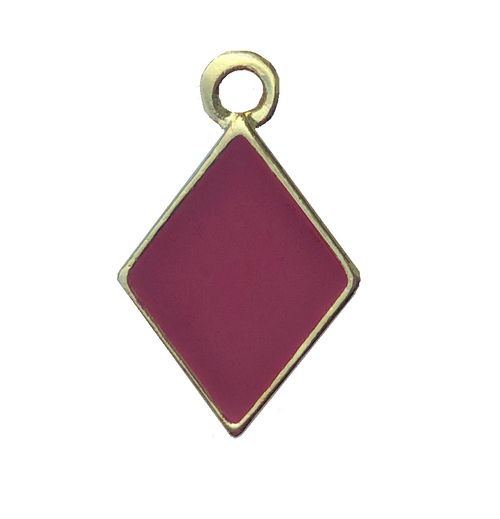 2 Sided Gold Plated Diamond Charm With Red Epoxy