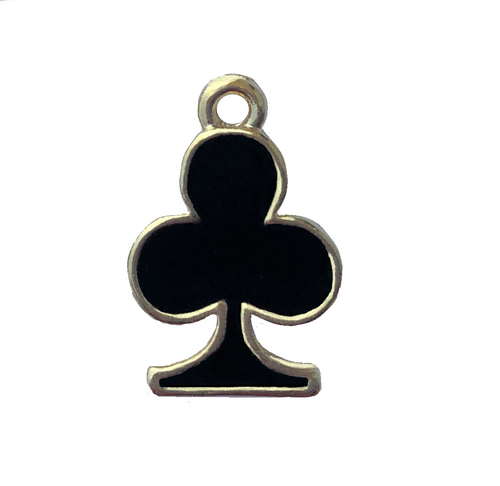 2 Sided Gold Plated Club Charm With Black Epoxy