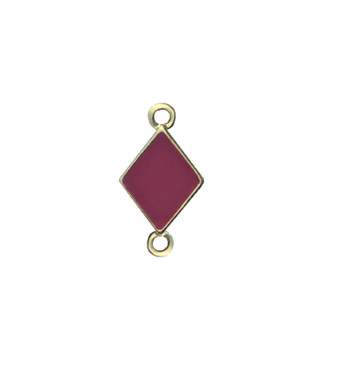 Diamond Symbol Bracelet Charm With Red Epoxy, Gold Plated