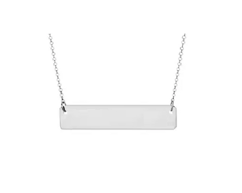 Silver Plain Bar Pendant with Cable Chain