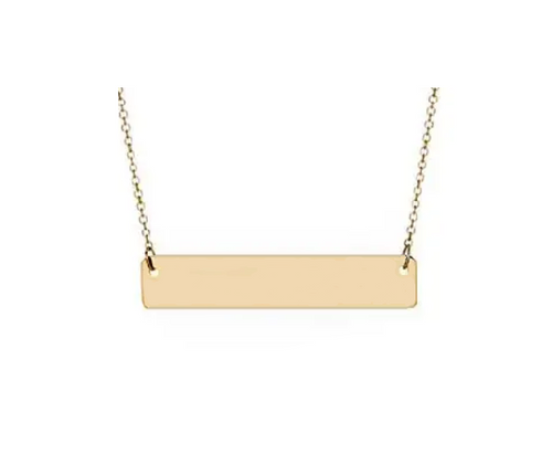 Gold Plain Bar Pendant With Cable Chain