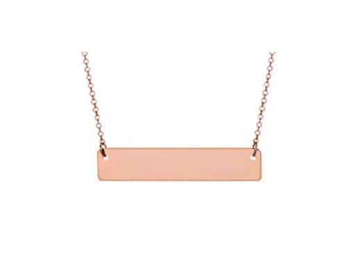 Rose Gold Plain Bar Pendant With Cable Chain