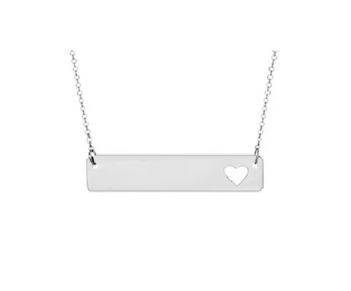 Silver Bar Pendant With Heart Cutout & Cable Chain