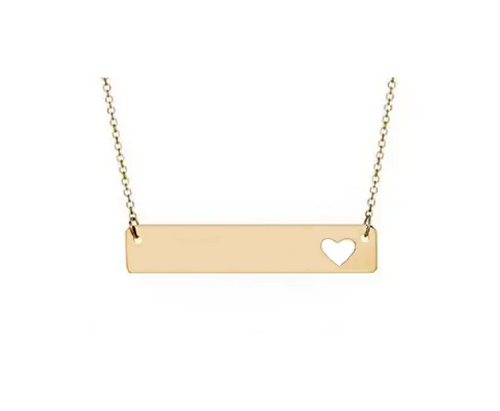 Gold Bar Pendant With Heart Cutout & Cable Chain