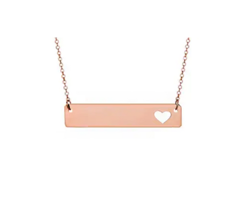 Rose Bar Pendant With Heart Cutout & Cable Chain