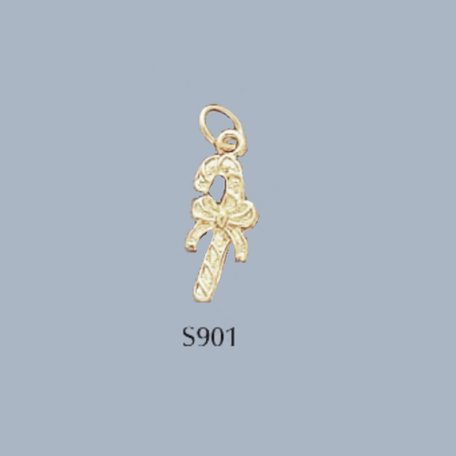 Gold Covered Brass Christmas Candy Cane Charm