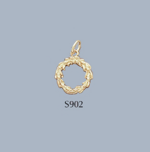 Gold Covered Brass Christmas Wreath Charm