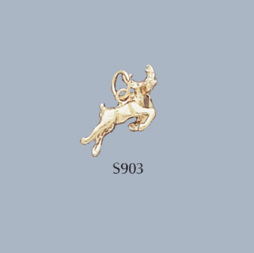 Gold Covered Brass Christmas Reindeer Charm