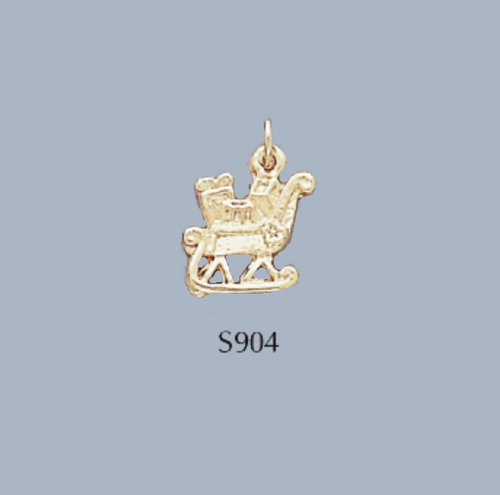 Gold Covered Brass Christmas Sleigh Charm