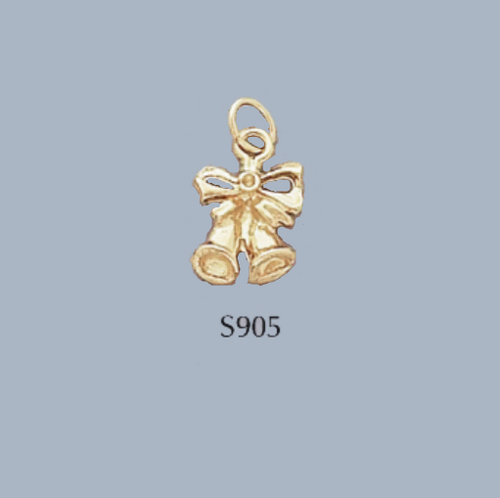 Gold Covered Brass Christmas Bells Charm