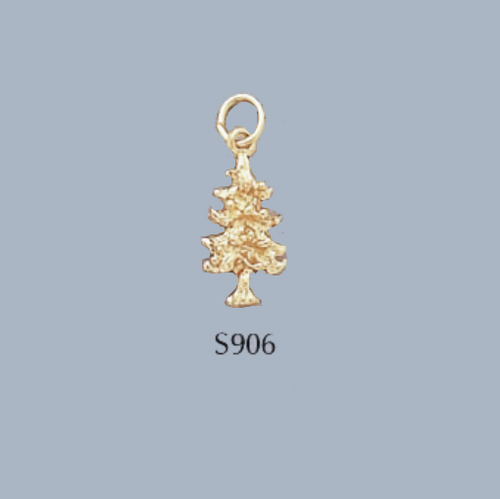 Gold Covered Brass Christmas Tree Charm
