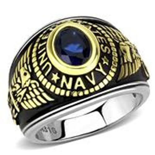 Women's Stainless Steel Navy Military Ring