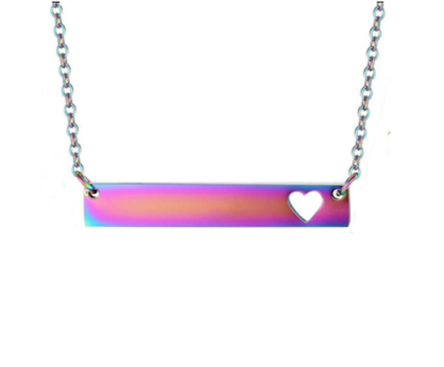 Rainbow Bar Pendant With Heart Cutout & Cable Chain