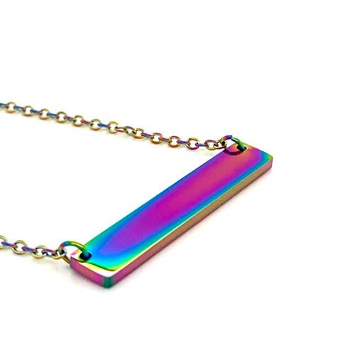 Rainbow Plain Bar Pendant with Cable Chain